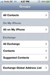 exchange GAL on iPhone